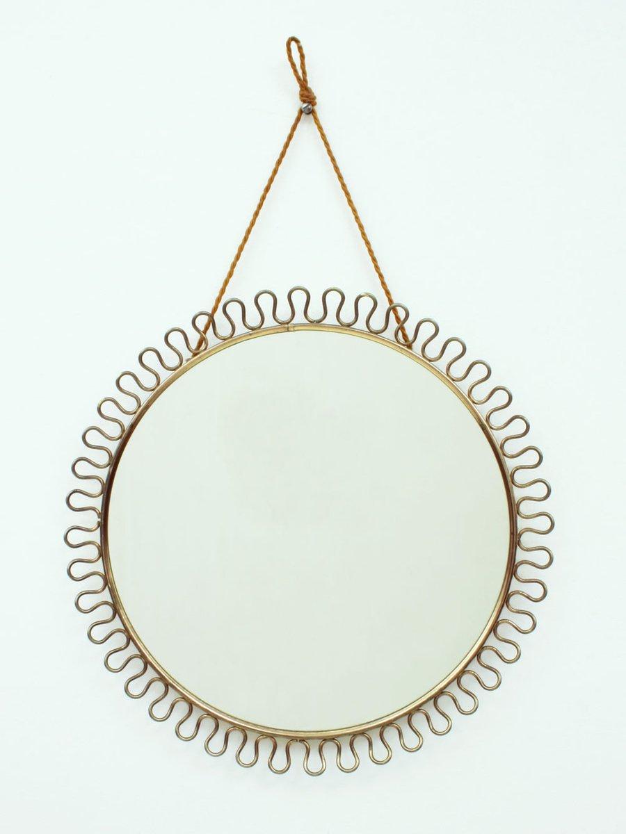 Runder schwedischer spiegel mit messingrahmen von josef for Spiegel mit messingrahmen