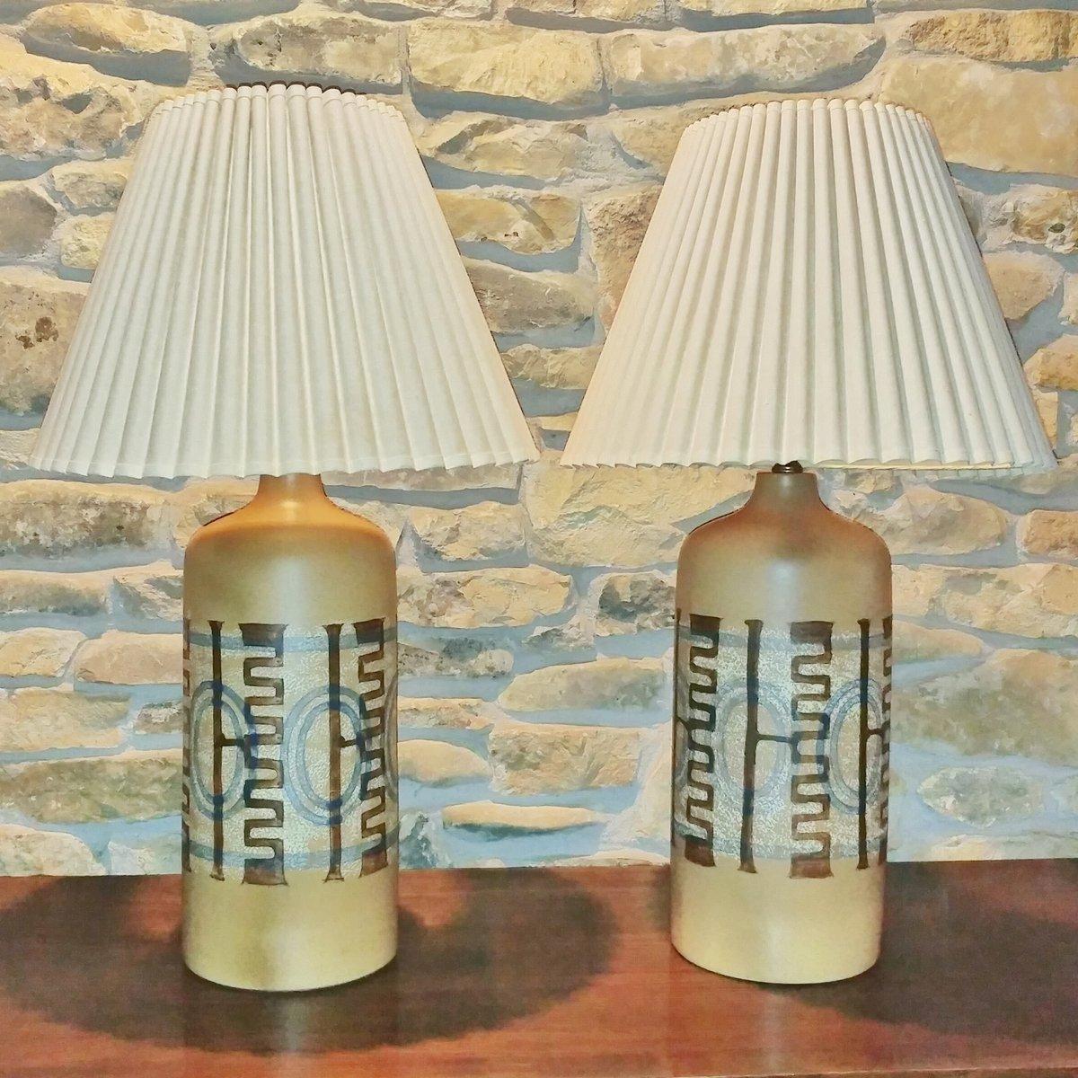Keramik Tischlampen von Elspeth Cohen für Lapid Pottery Works, 2er Set