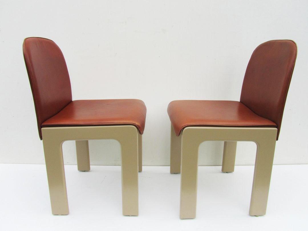 st hle aus leder lackiertem holz von tobia scarpa 1970er 2er set bei pamono kaufen. Black Bedroom Furniture Sets. Home Design Ideas