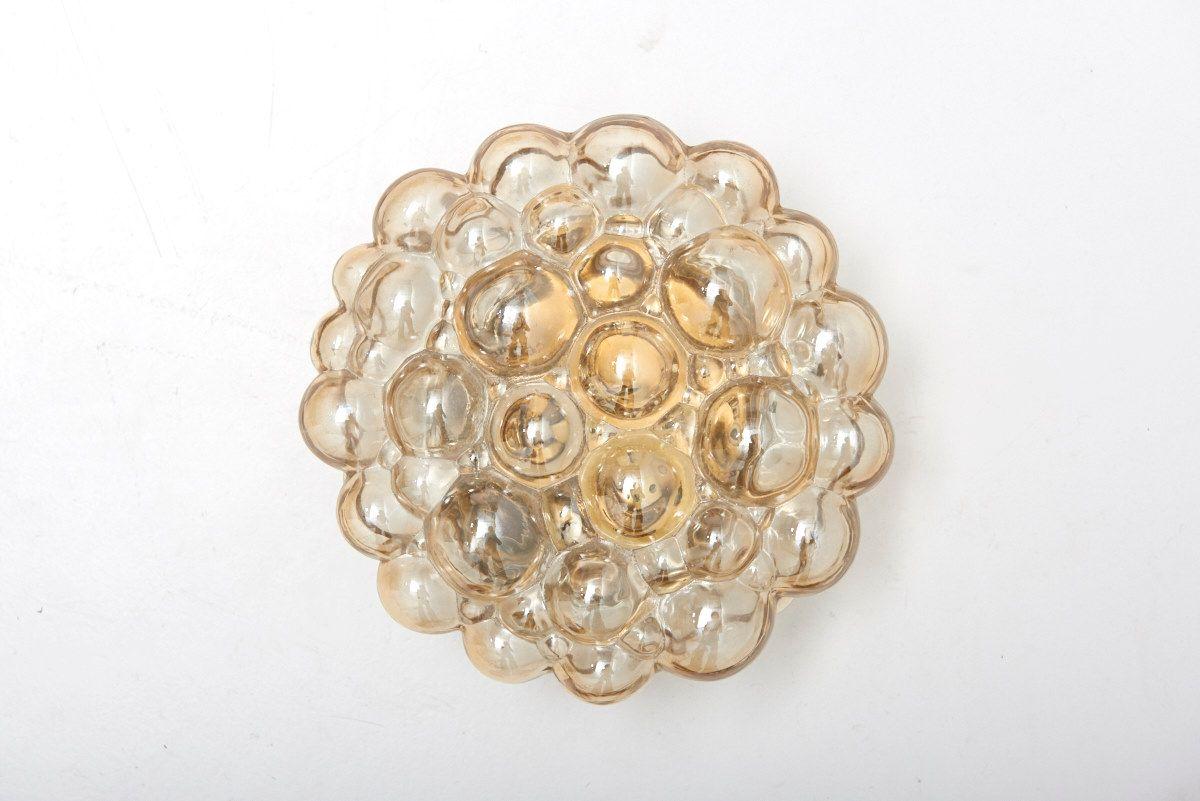 Bernsteinfarbene Glasblasen Wand- und Deckenlampe von Helena Tynell fü...