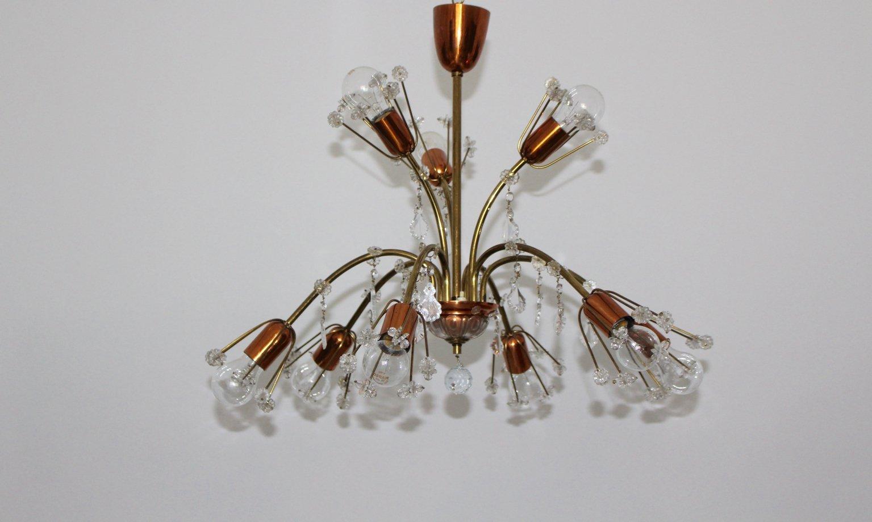 Wiener Kristall Deckenlampe von Emil Stejnar für Rupert Nikoll, 1950er