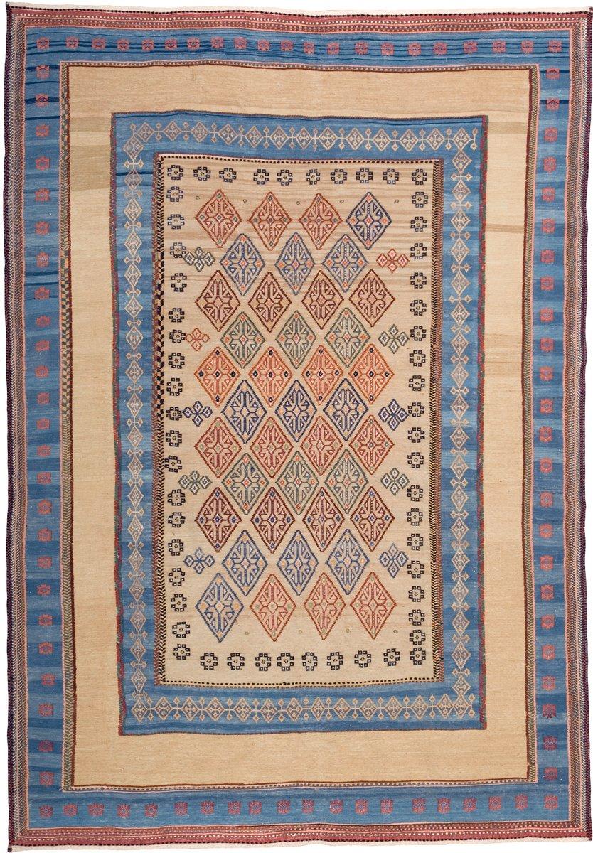 Embroidered Persian Kilim Rug