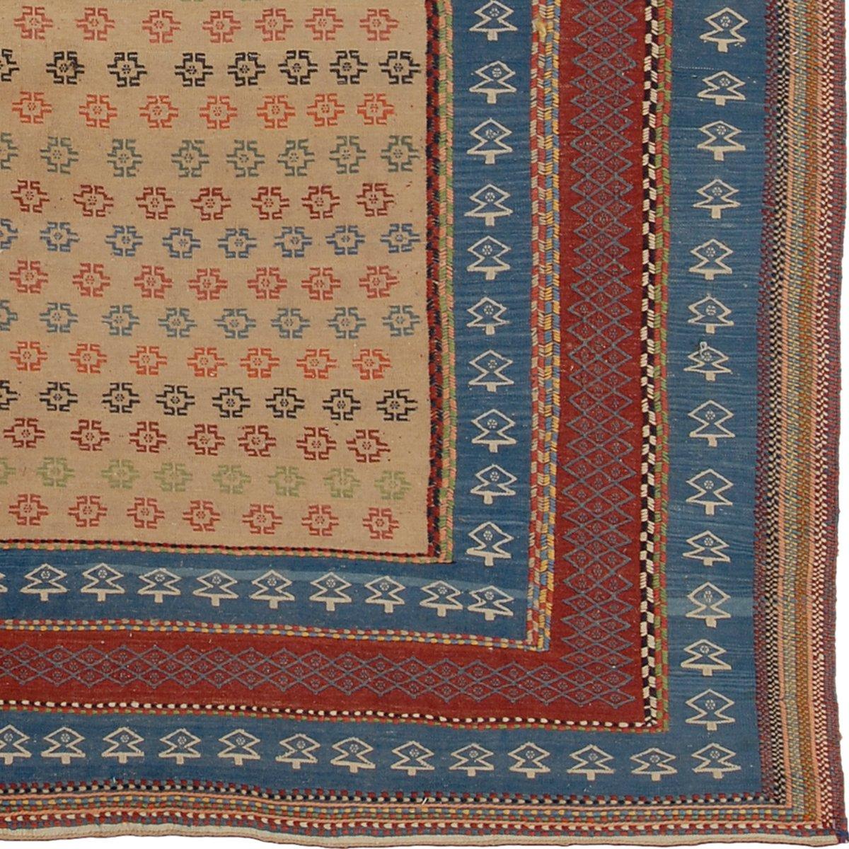 bestickter persischer kilim teppich in blau rot bei pamono kaufen. Black Bedroom Furniture Sets. Home Design Ideas