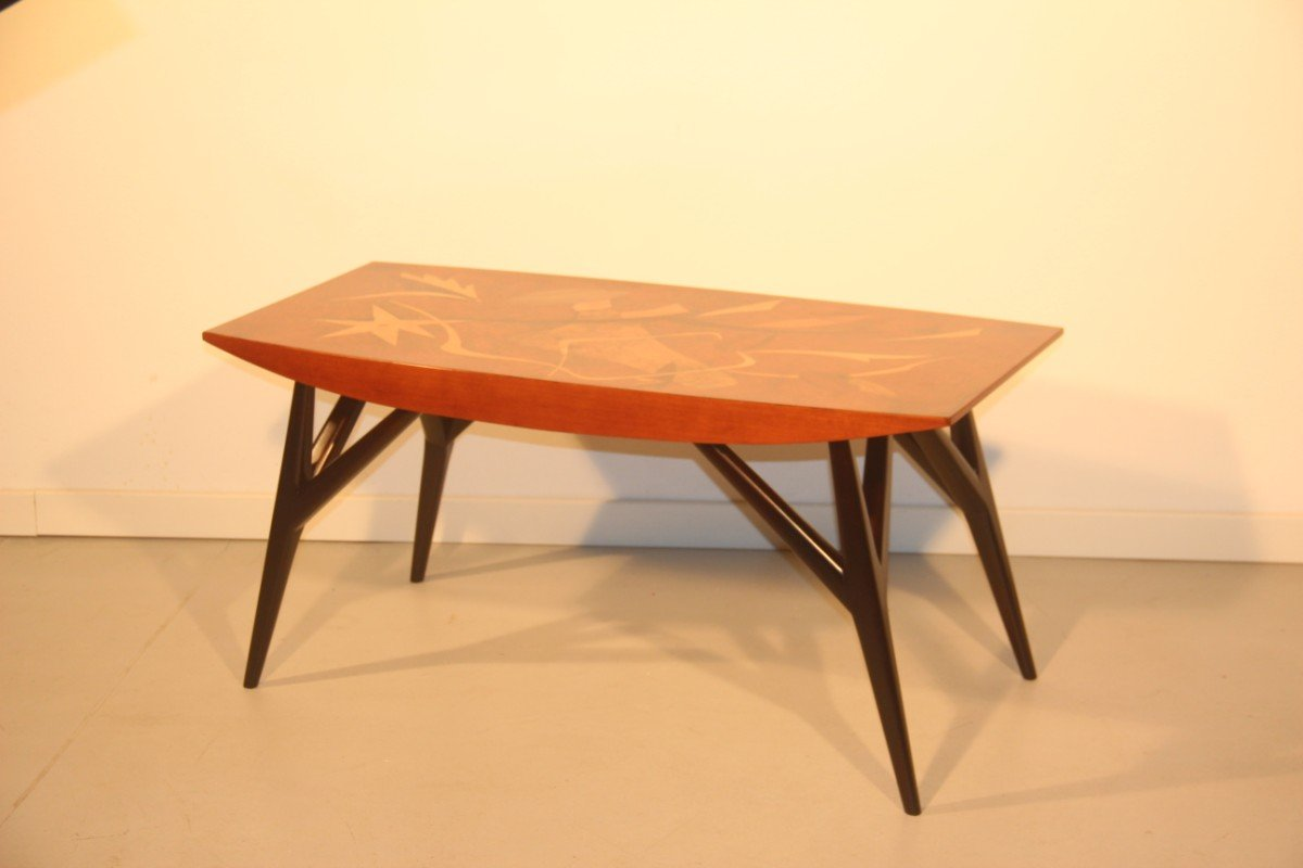 Italian Coffee Table With Wooden Inlays By Luigi Scremin 1950
