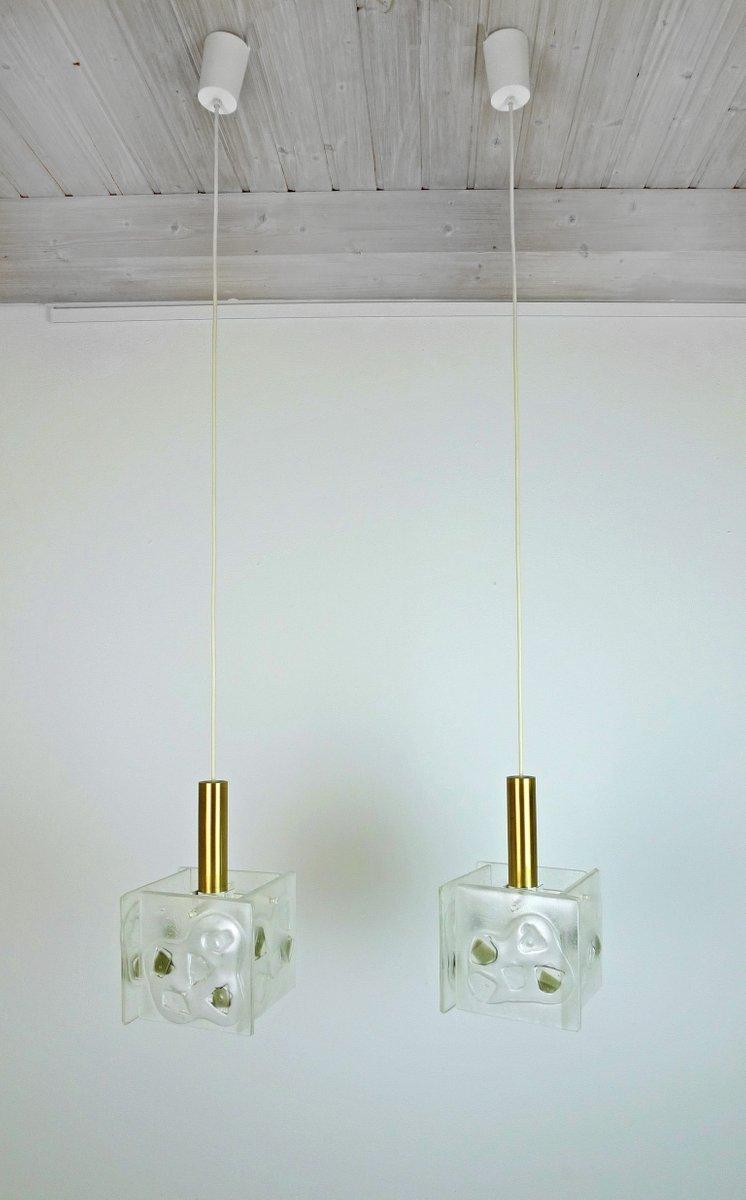 Deutsche Hängelampen mit Gewölbten Glas & Messing Zylindern, 1960er, 2...