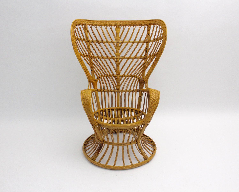 Italian Rattan Peacock Chair By Lio Carminati
