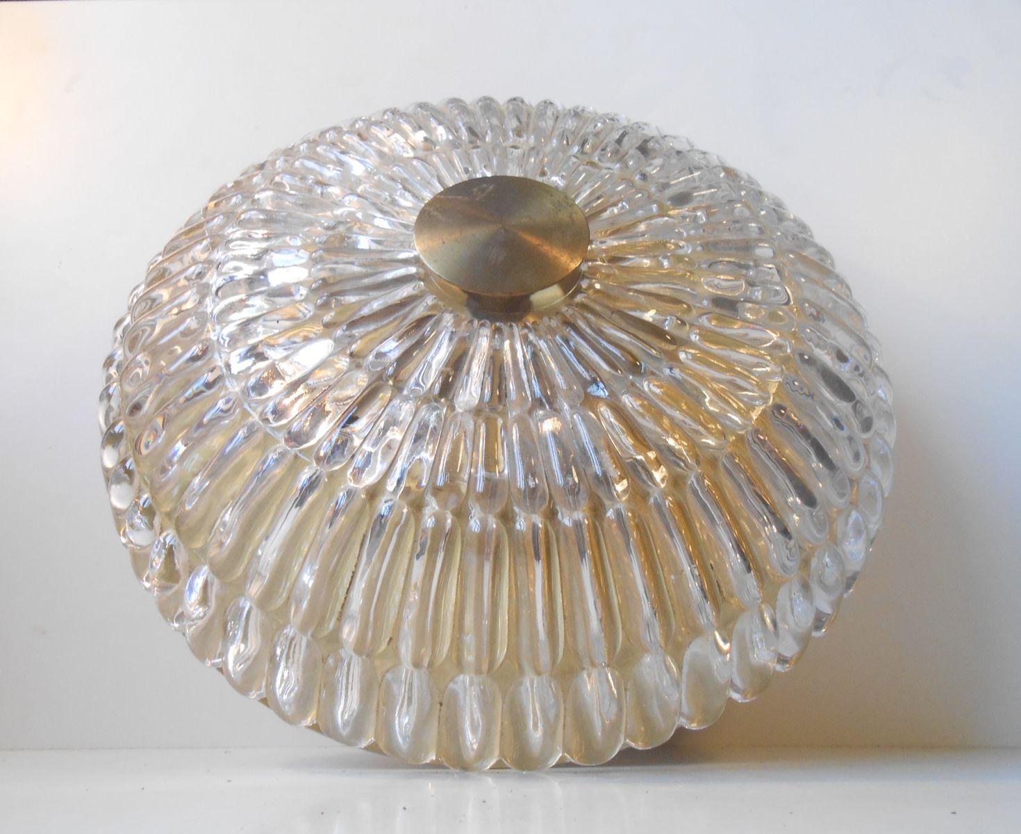 Schwedische Kristall & Messing Deckenlampe von Carl Fagerlund für Orre...