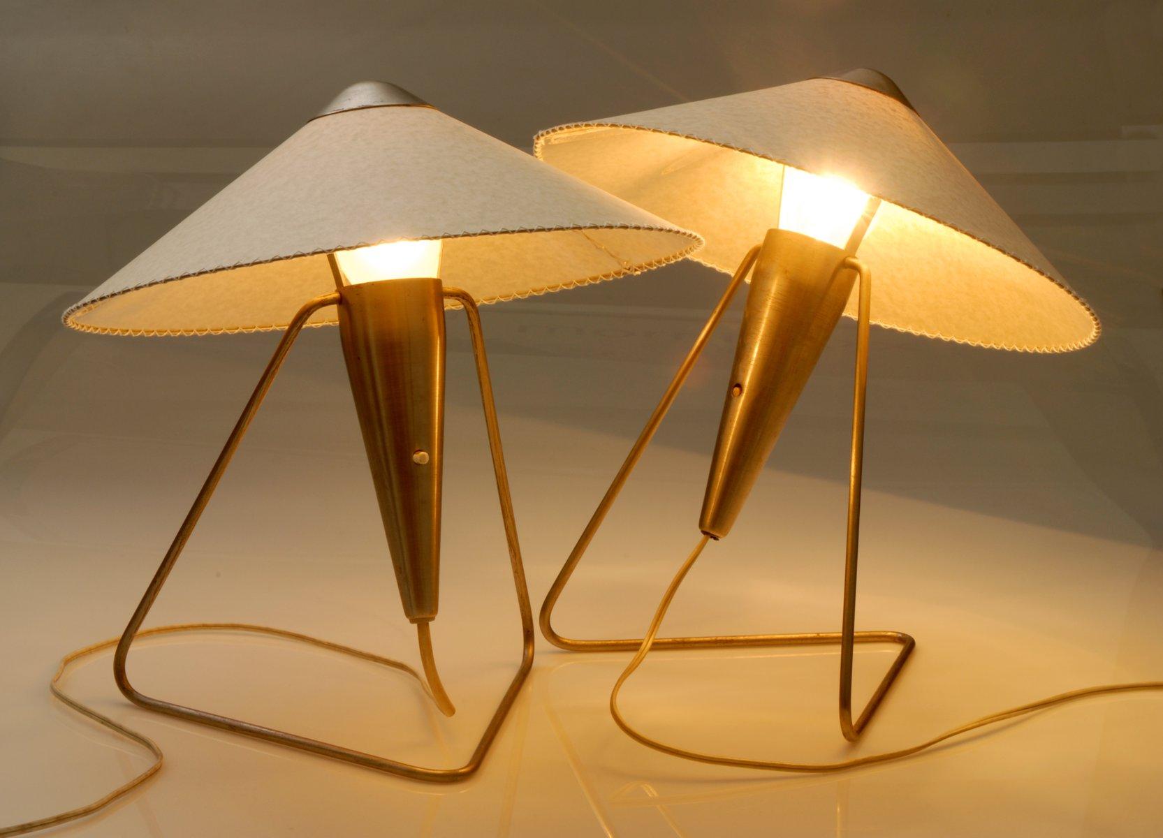 Messing Tischlampen von Helena Frantova für Okolo, 1953, 2er Set