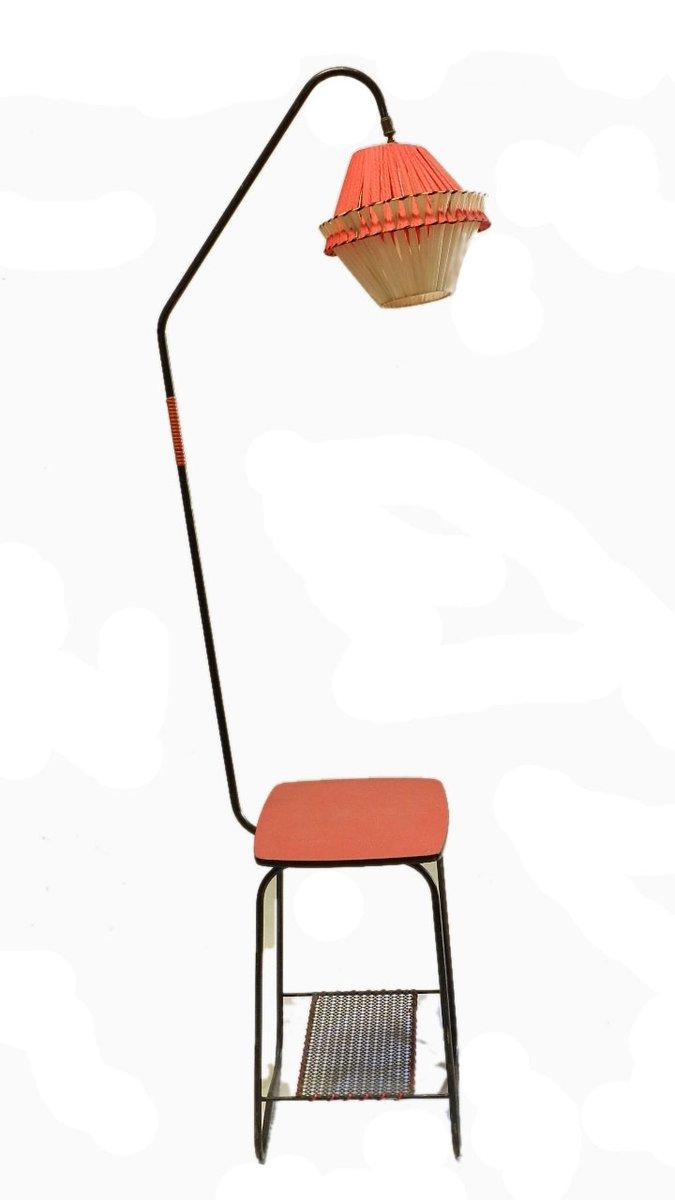 franz sischer mid century beistelltisch mit stehlampe 1950er bei pamono kaufen. Black Bedroom Furniture Sets. Home Design Ideas