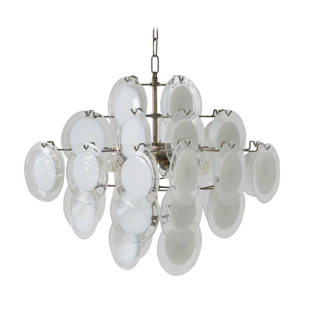 Italienischer Kronleuchter aus Weißem Murano Glas und Klarglas von Vis...