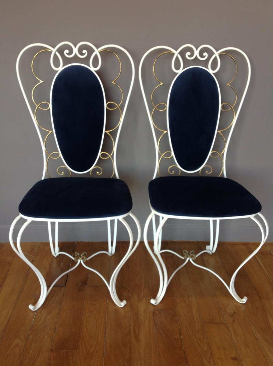 Vintage Wrought Iron Chair 1950s Set Of 2