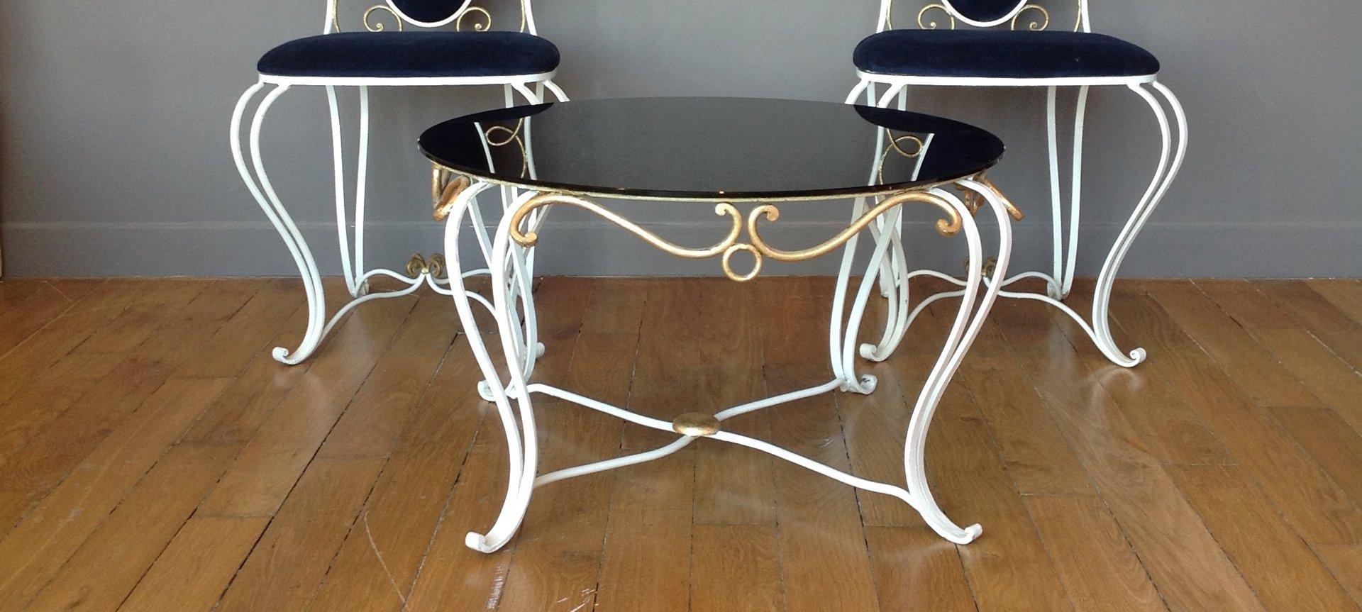 table basse en fer forg 1950s en vente sur pamono. Black Bedroom Furniture Sets. Home Design Ideas