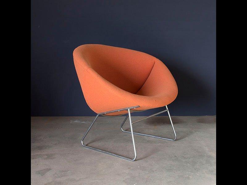 Orange Fabric Lounge Chair 1960s