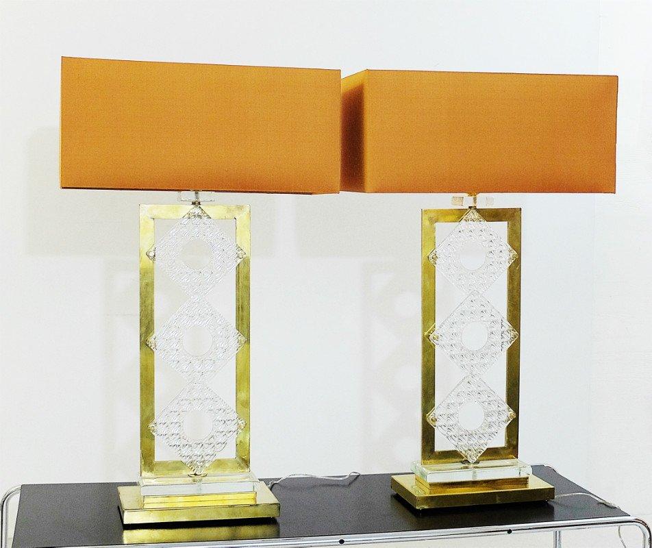 Italienische Messing & Glas Tischlampen, 2er Set