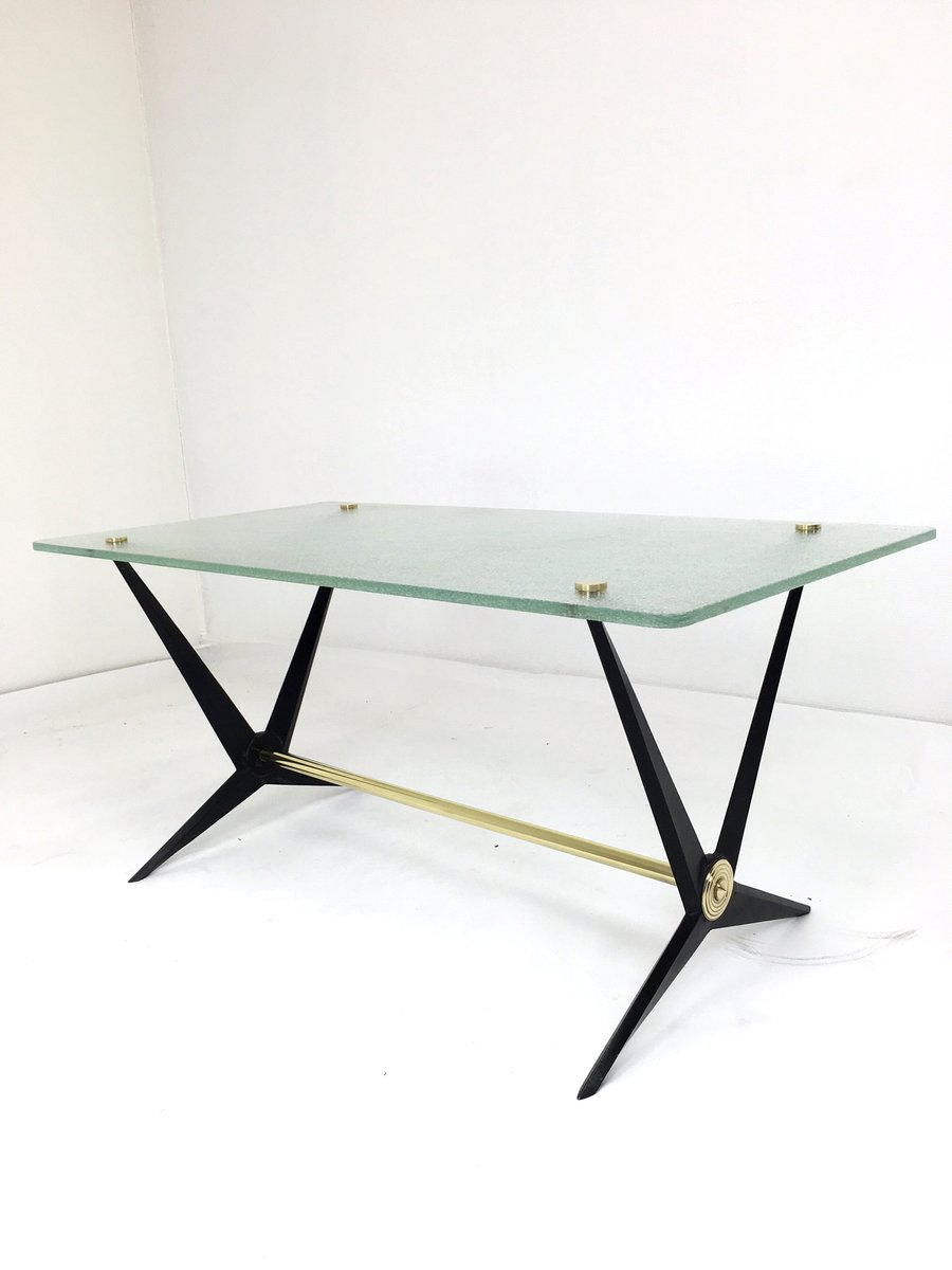 Black Cast Iron And Brass Side Table By Angelo Ostuni S For - Black and brass side table