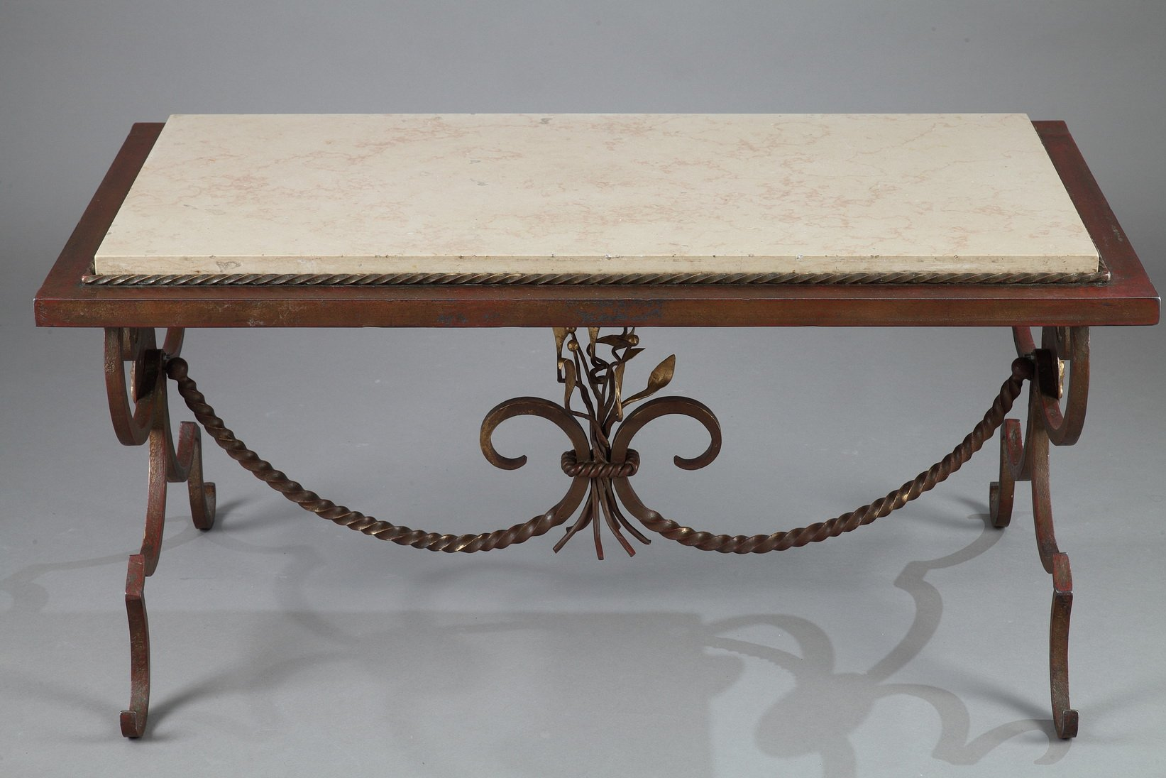Gilded Wrought Iron Marble Coffee Table 1950s
