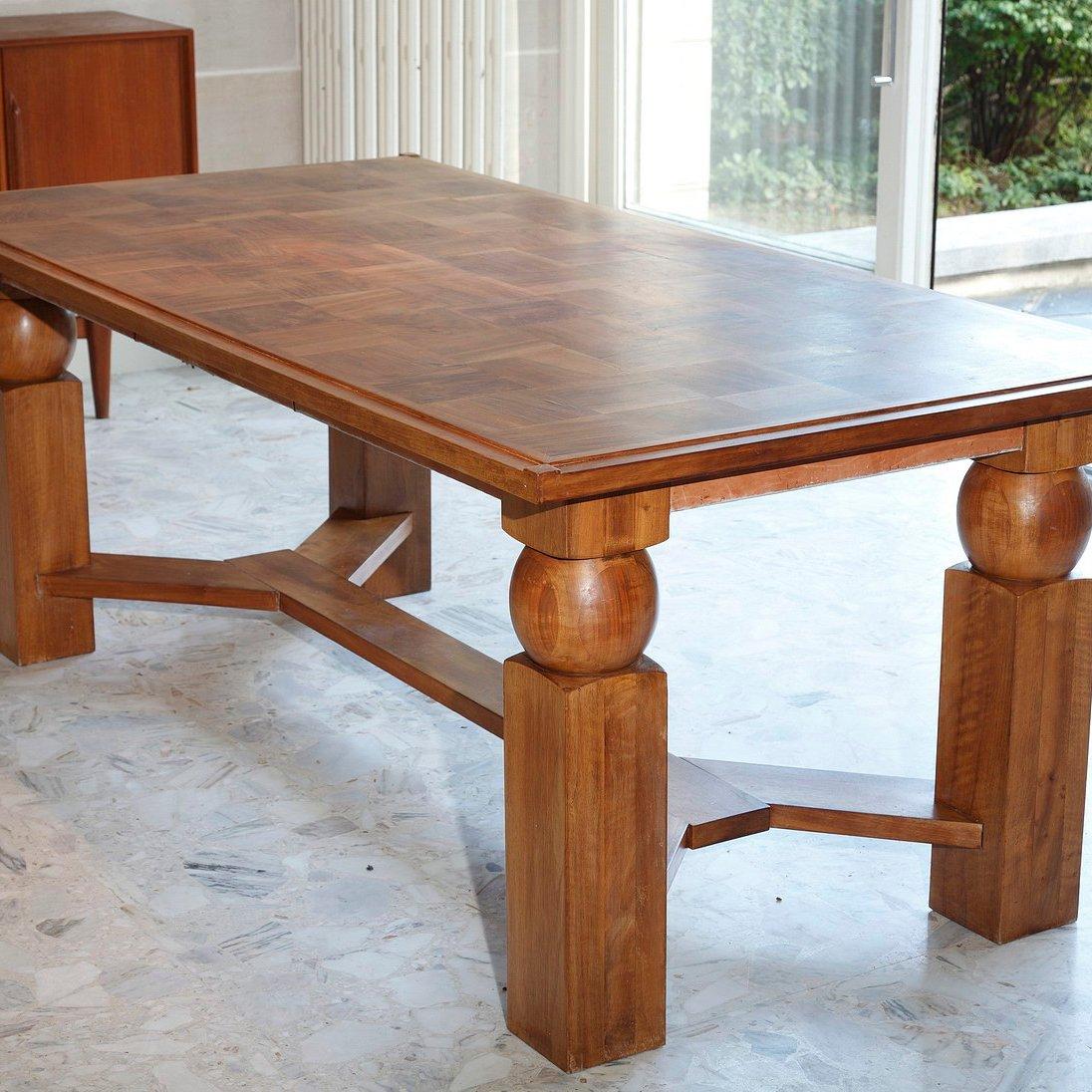 ausziehbarer esstisch aus naturholz von baptistin spade 1950er bei pamono kaufen. Black Bedroom Furniture Sets. Home Design Ideas