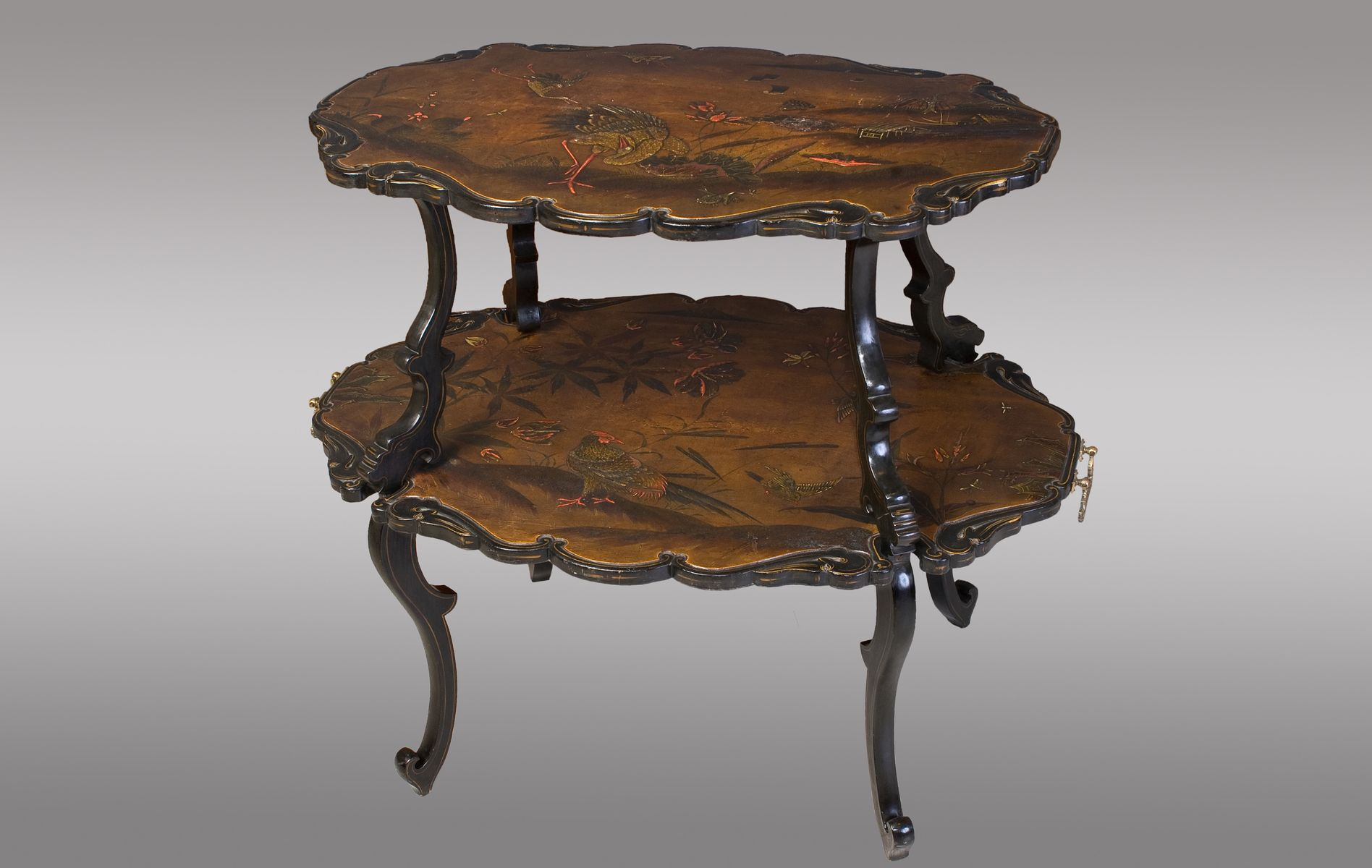 Antique French Lacquered Two Tier Table
