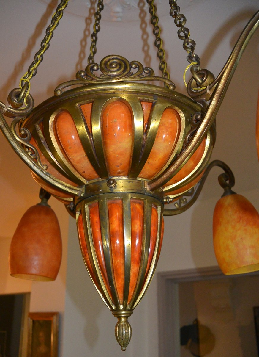 Art Nouveau Chandelier From Majorelle Daum 1910