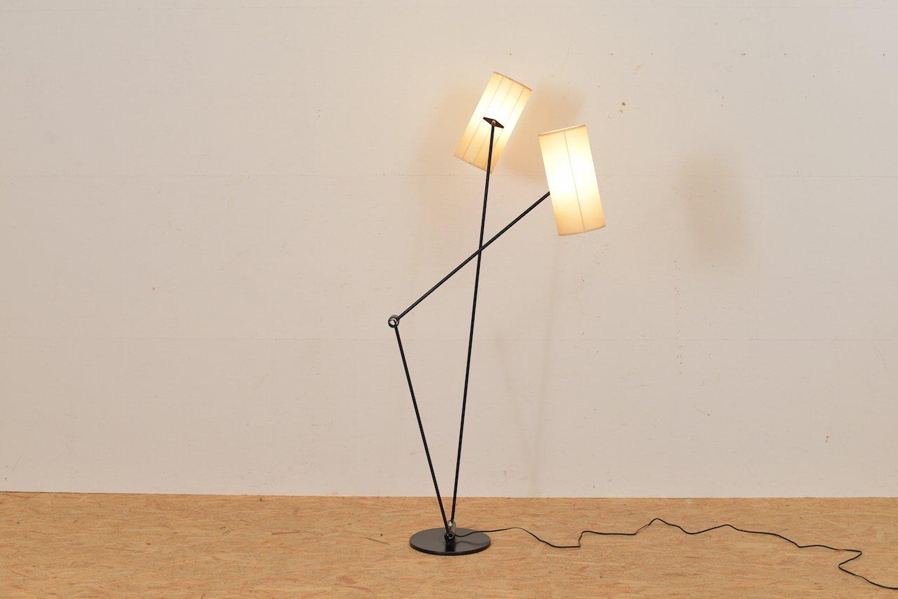 Schweizer Stehlampe mit Zwei Leuchten, 1950er