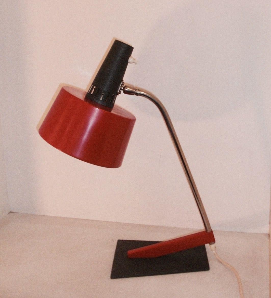Red Metal Desk Lamp 1960s