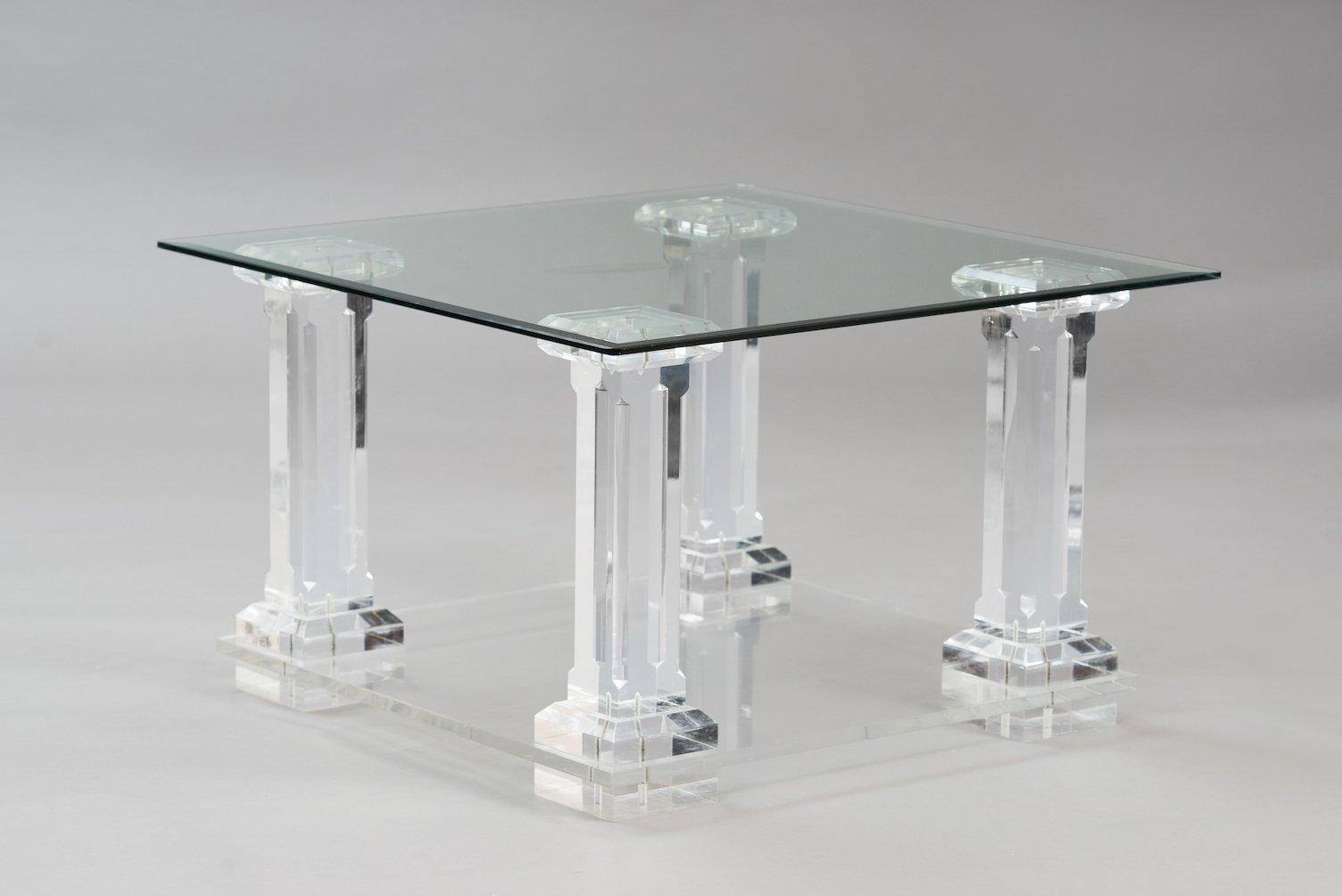 Italian Lucite U0026 Glass Side Table