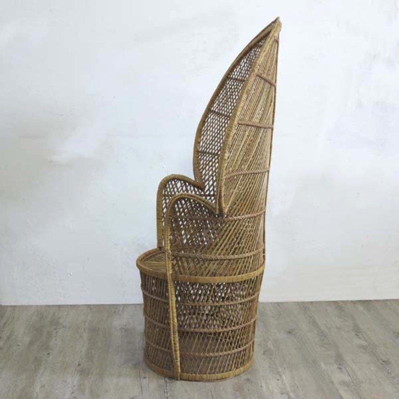 vintage rattan sessel mit hoher r ckenlehne 1970er bei. Black Bedroom Furniture Sets. Home Design Ideas