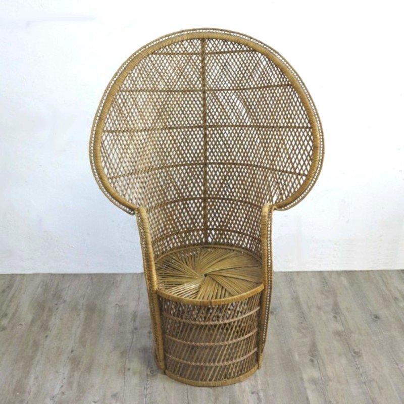Vintage Rattan Sessel mit Hoher Rückenlehne, 1970er