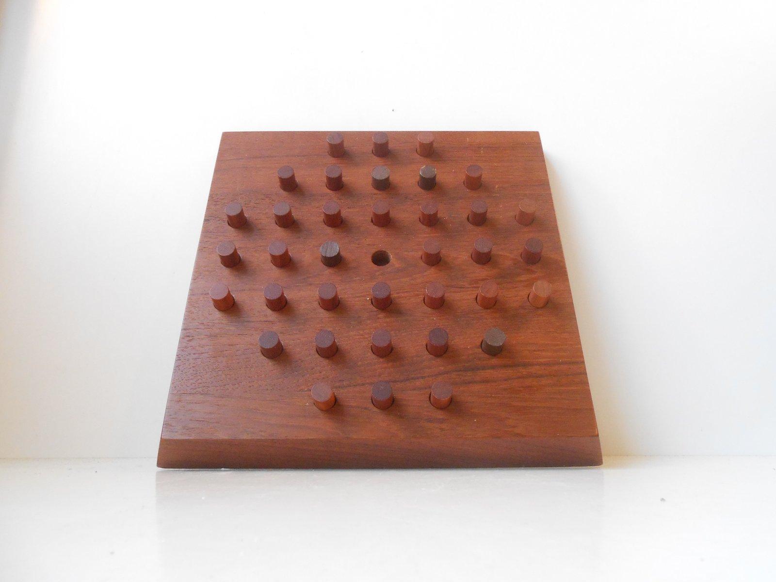 Solitaire Brettspiel aus Teakholz von Piet Hein für Skjode Denmark