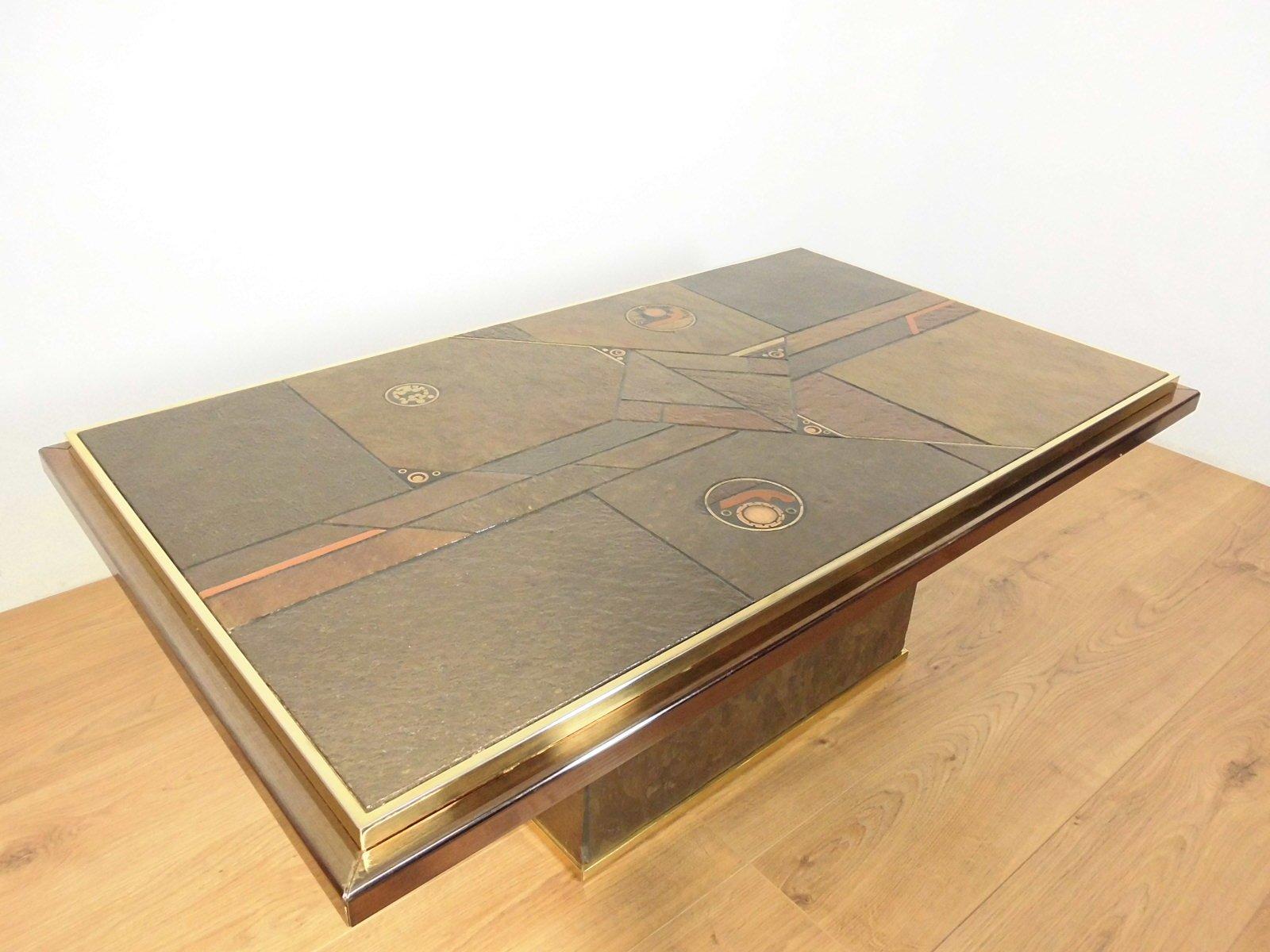 table basse en pierre et en bronze par ad stam 1970 en. Black Bedroom Furniture Sets. Home Design Ideas