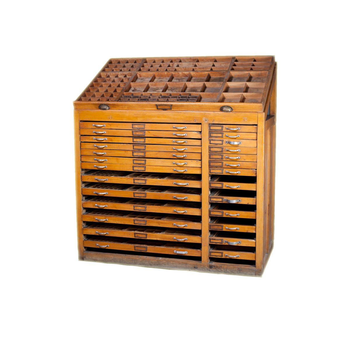 Antique Printers Cabinet, 1890s - Antique Printers Cabinet, 1890s For Sale At Pamono
