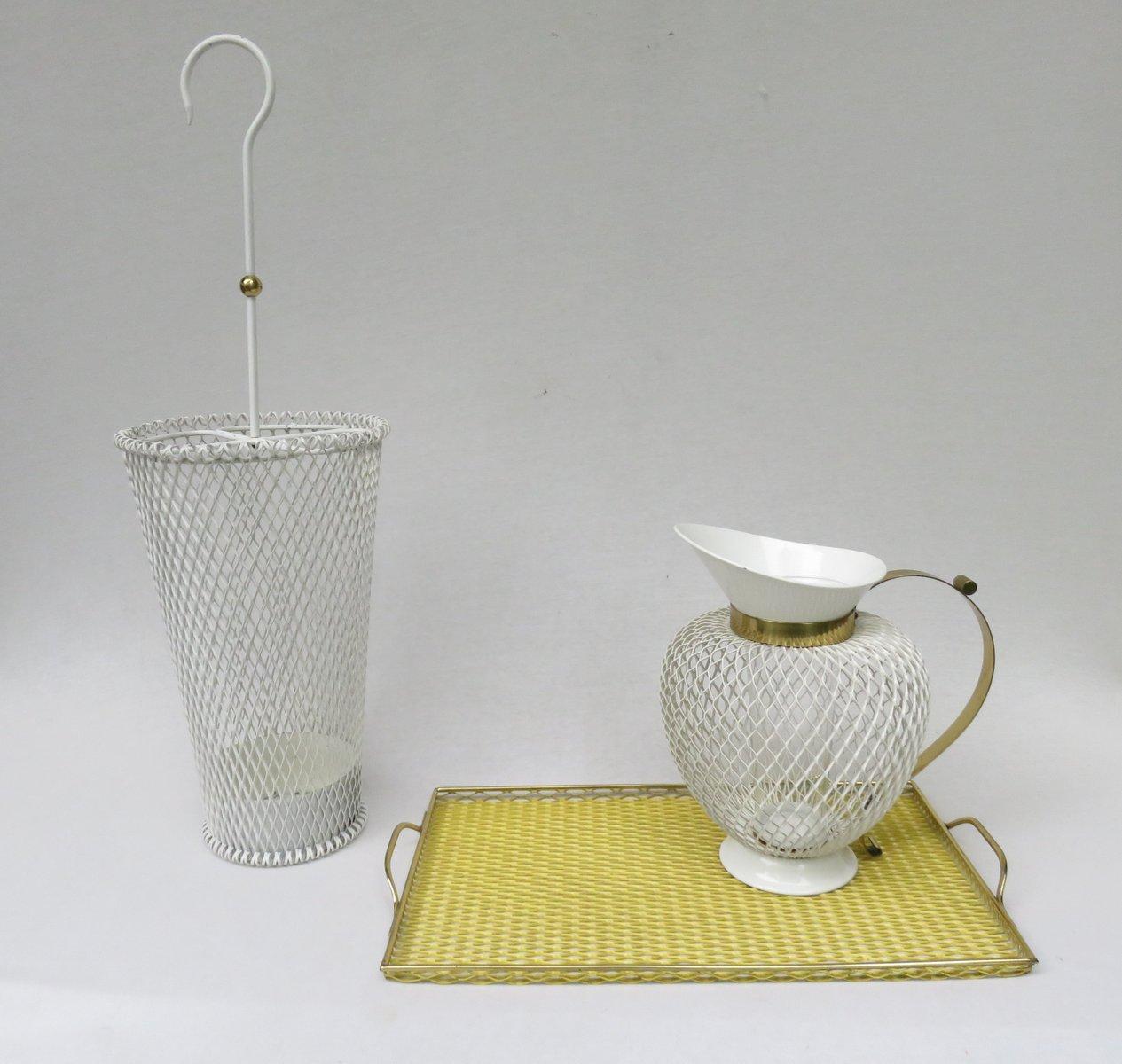 Yellow Umbrella Stand: Mid-Century White & Yellow Metal & Brass Umbrella Stand