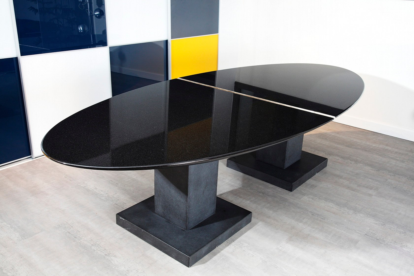 Black Granite Dining Table By Michael Pice