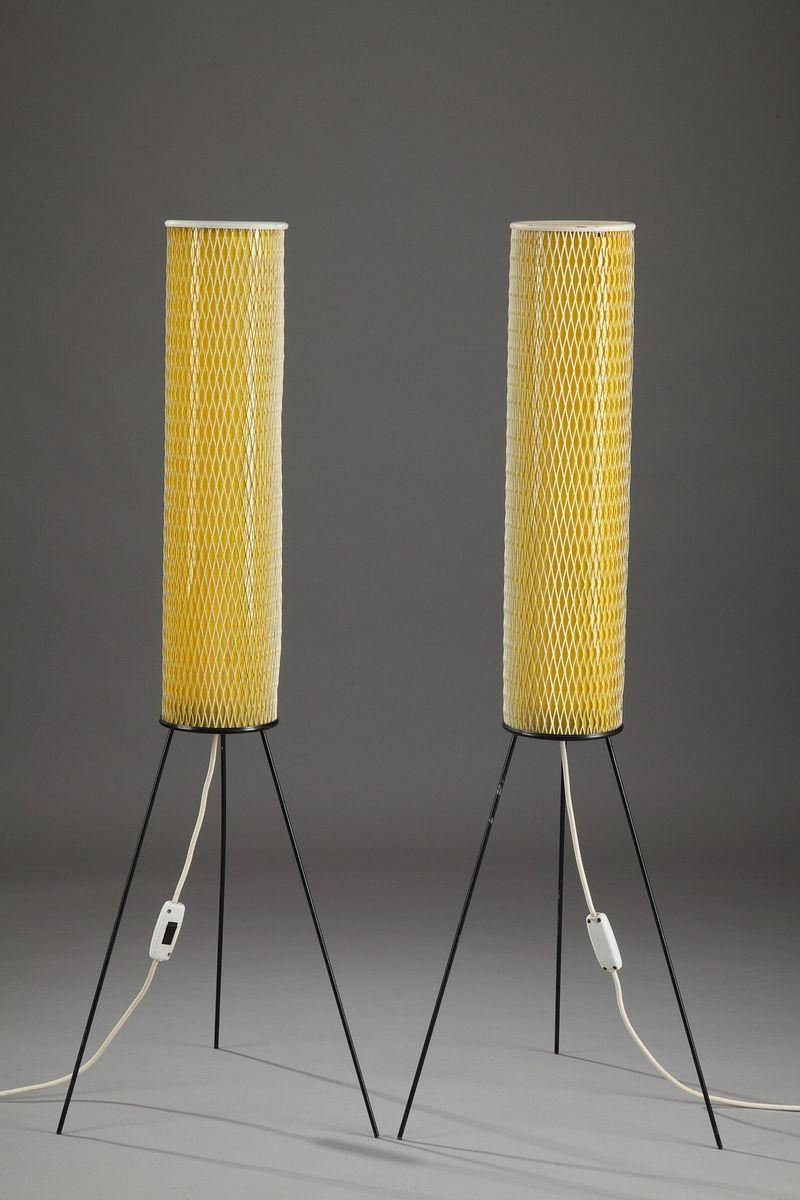 Zylinderförmige Gelbe Stehlampe aus Plastik, 1950er