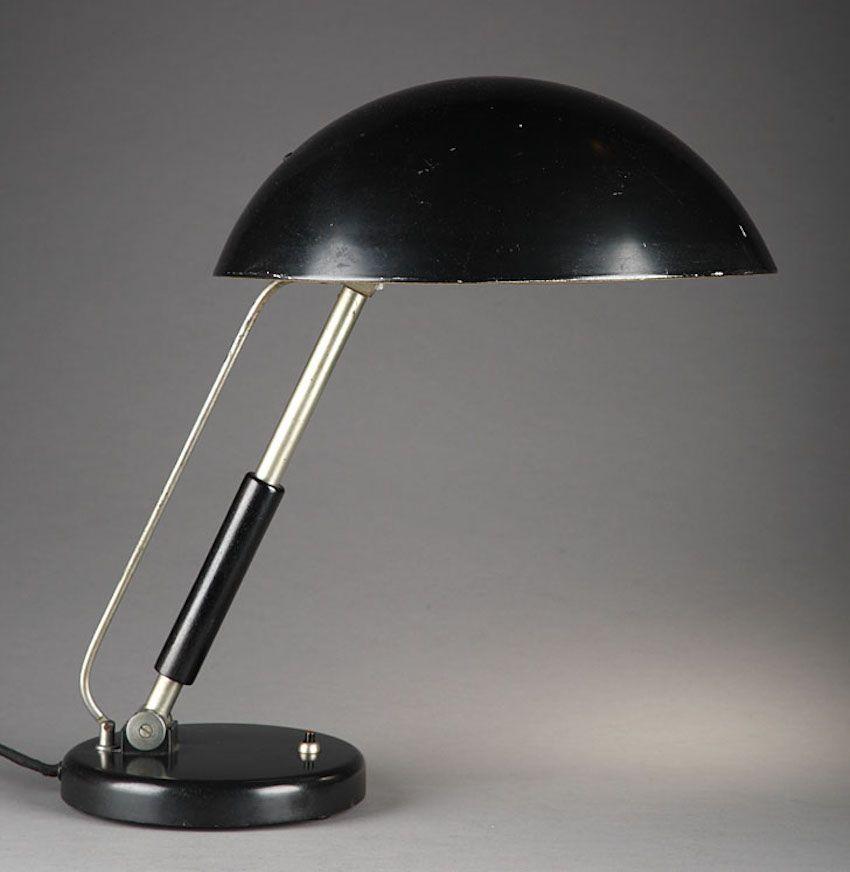 Modernistische Metall Schreibtischlampe von Karl Trabert für G. Schanz...