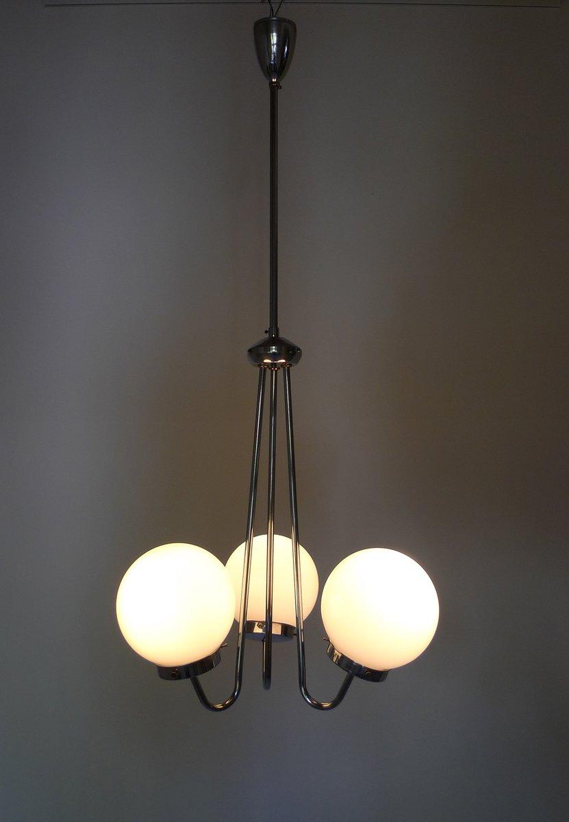 tschechische art deco h ngelampe mit drei glas leuchten von zukov 1940er bei pamono kaufen. Black Bedroom Furniture Sets. Home Design Ideas