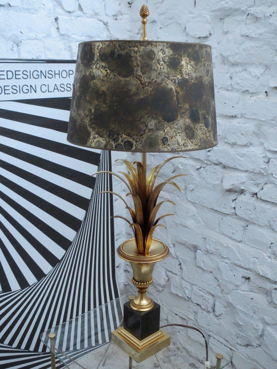 Französische Vergoldete Vintage Palmen Tischlampe mit Lampenschirm aus...