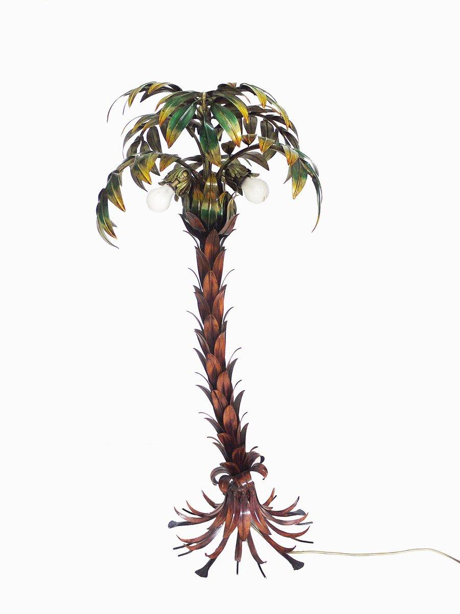 Mehrfarbige Deutsche Hollywood Regency Palmen Stehlampe aus Metall von...