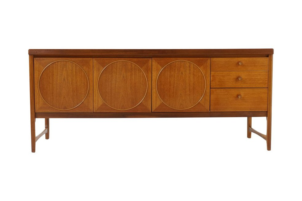 La Credenza In English : Mid century british teak circles sideboard by patrick lee for nathan