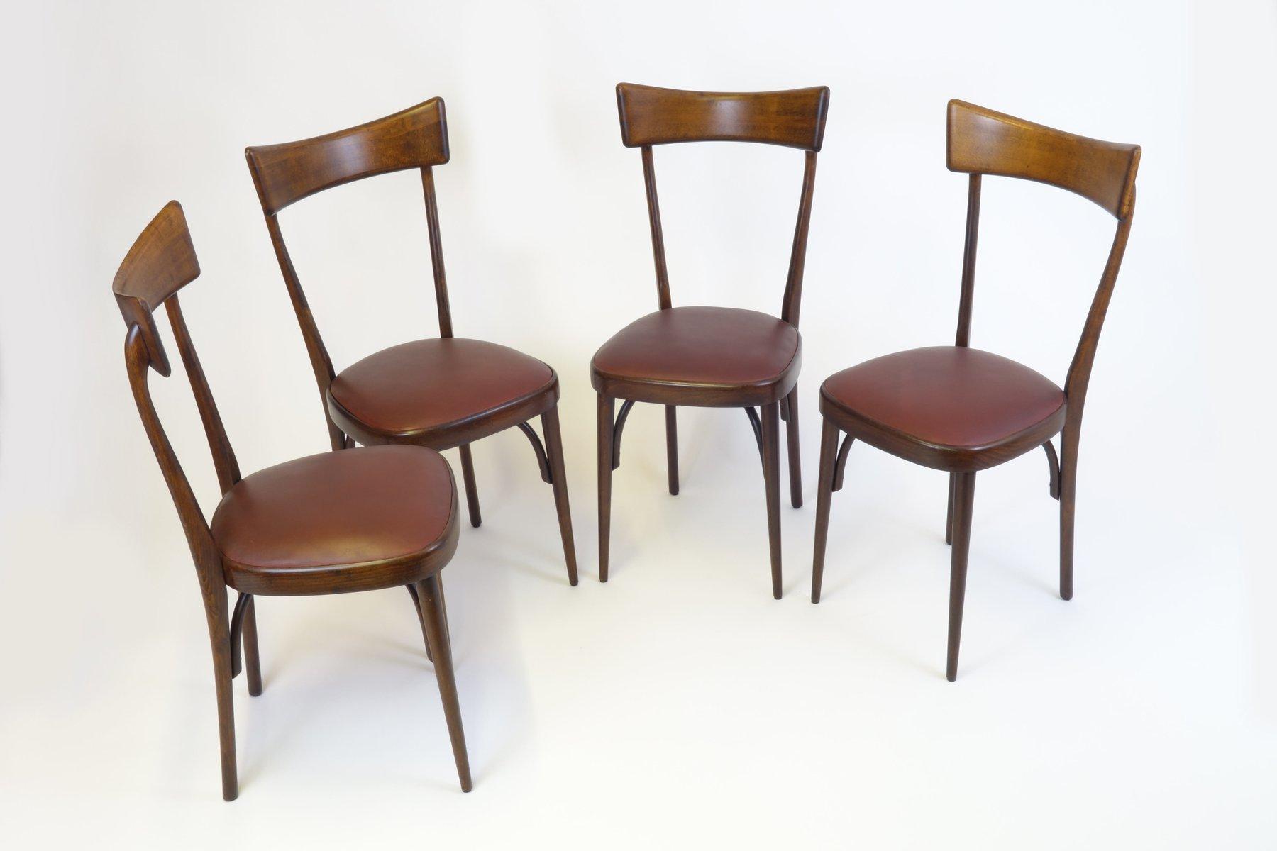 italienische mid century mahagoni esszimmerst hle 4er set bei pamono kaufen. Black Bedroom Furniture Sets. Home Design Ideas