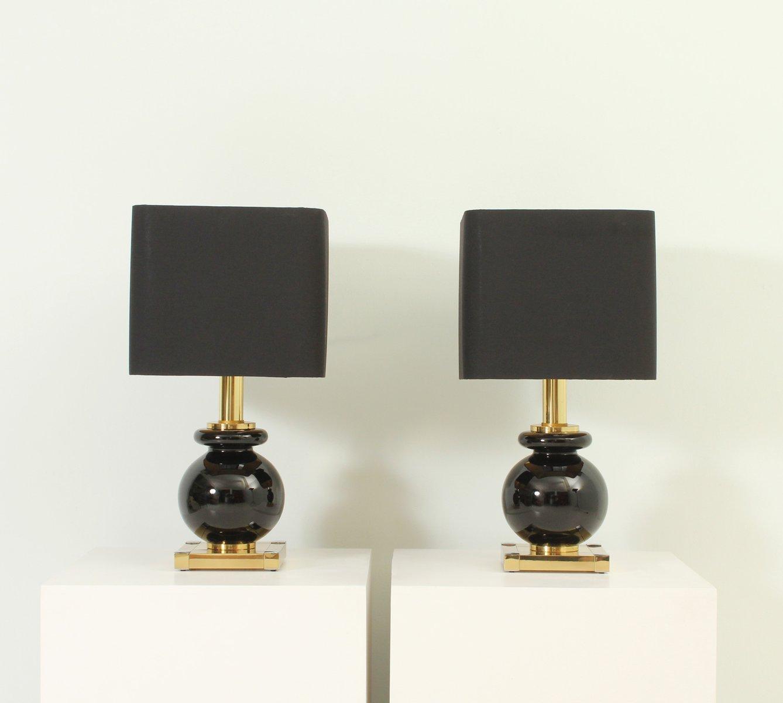 Tischlampen aus Messing & Glas von Lumica, 1970er, 2er Set