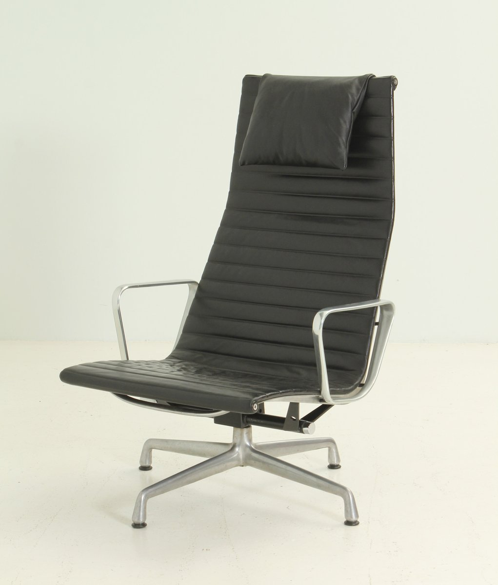 Ea124 Black Leather Lounge Chair By Charles And Ray Eames