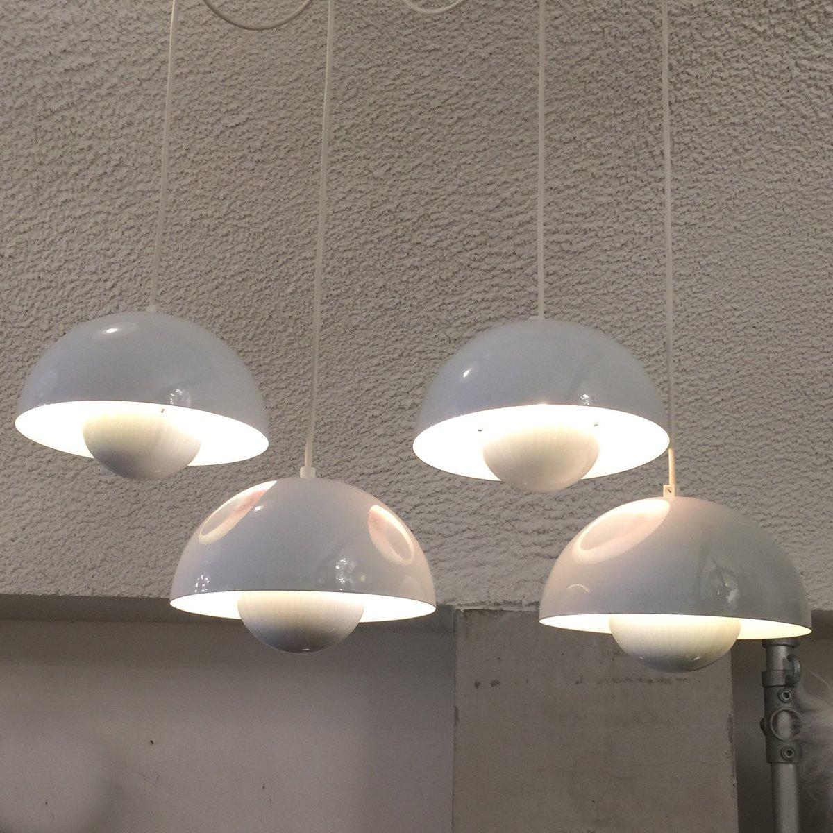 Weiße Vintage Flower Pot Lampen von Verner Panton für Louis Poulsen, 4...