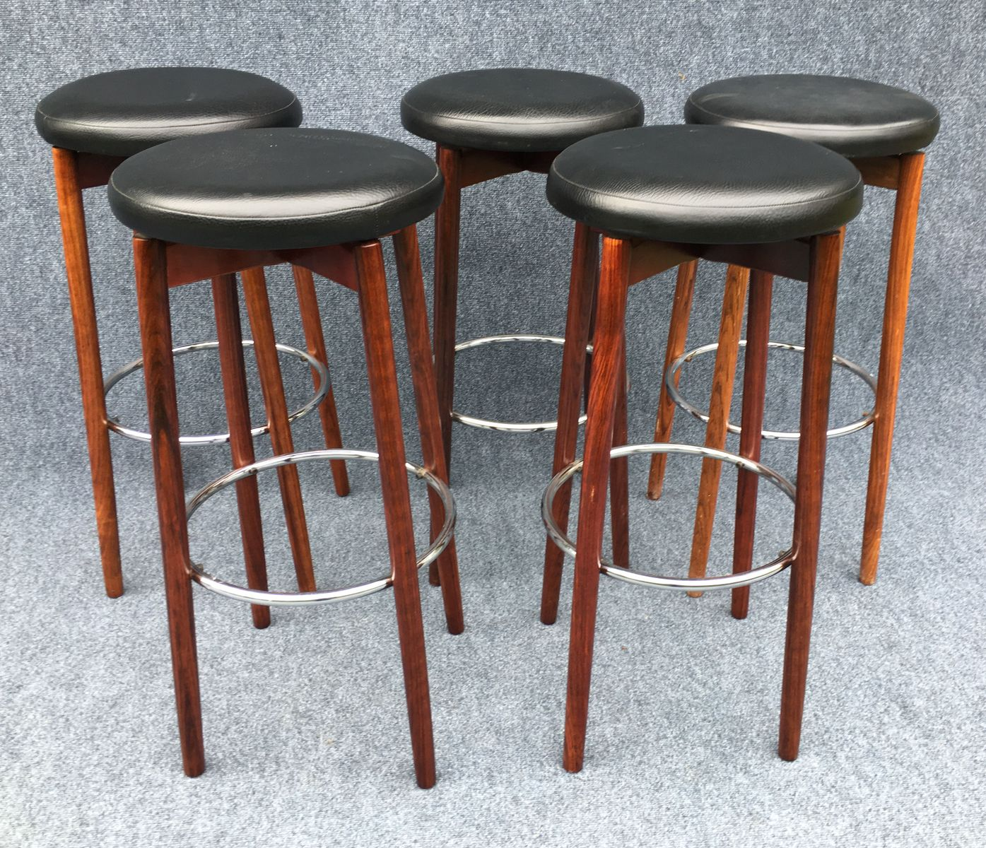 Danish Rosewood And Chrome Bar Stools 1970s Set Of 5 For