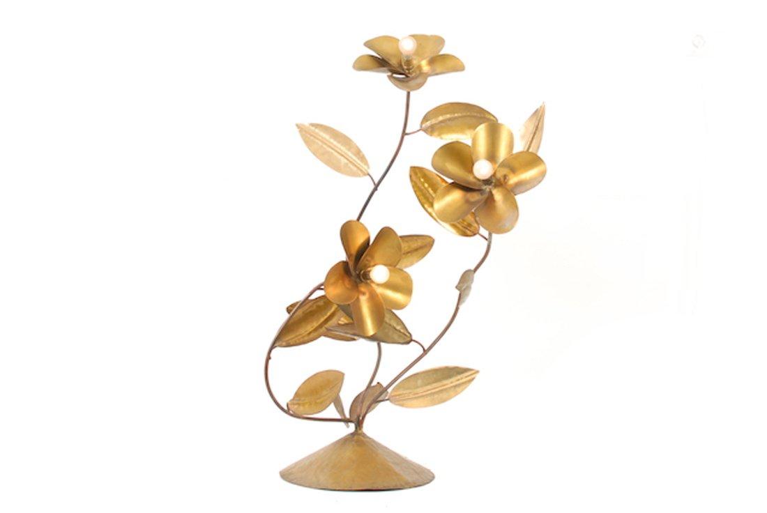 Vintage Blumen Lampe aus Kupfer
