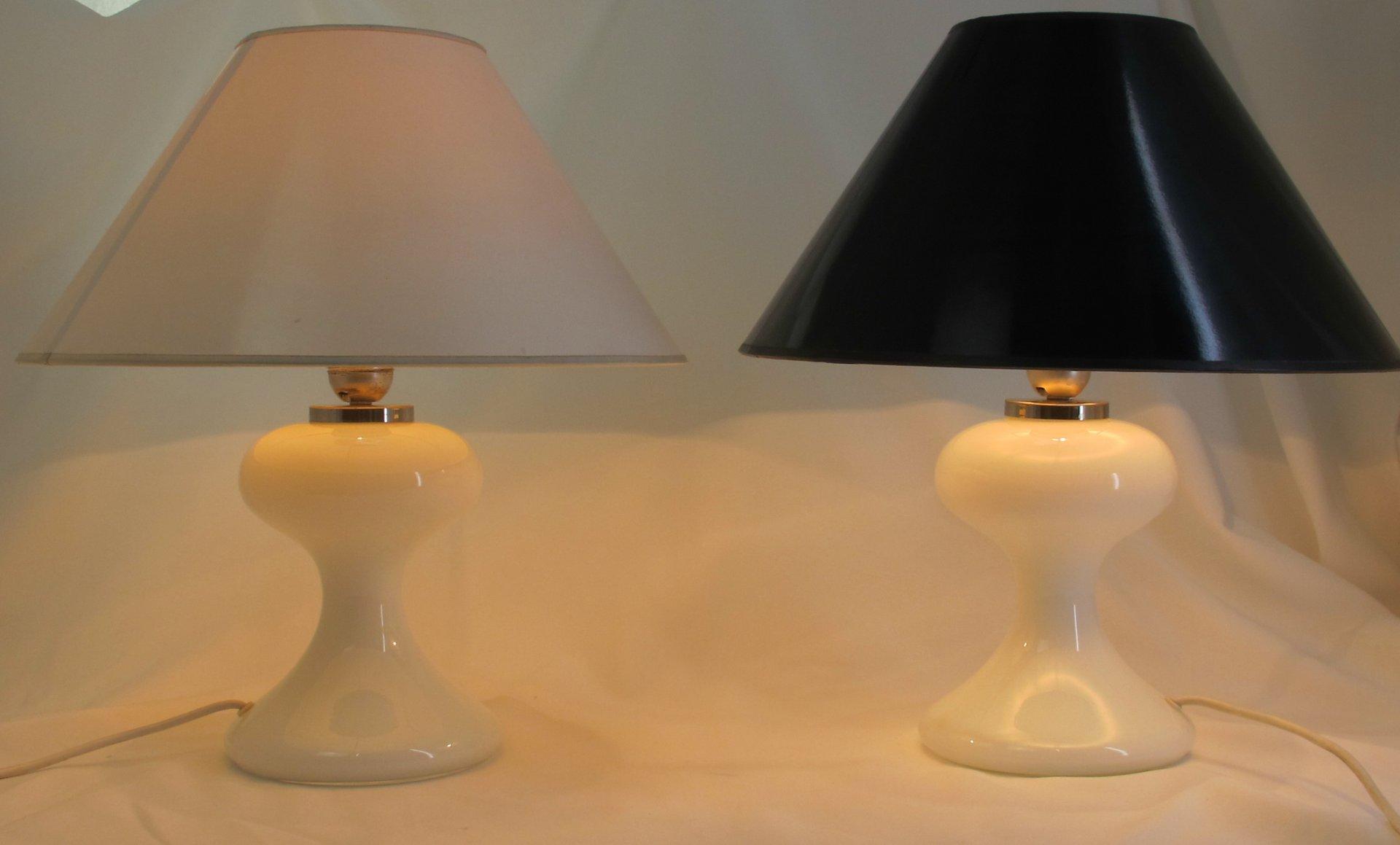 Deutsche ML 1 Tischlampen aus Weißem Glas von Ingo Maurer, 1967, 2er S...