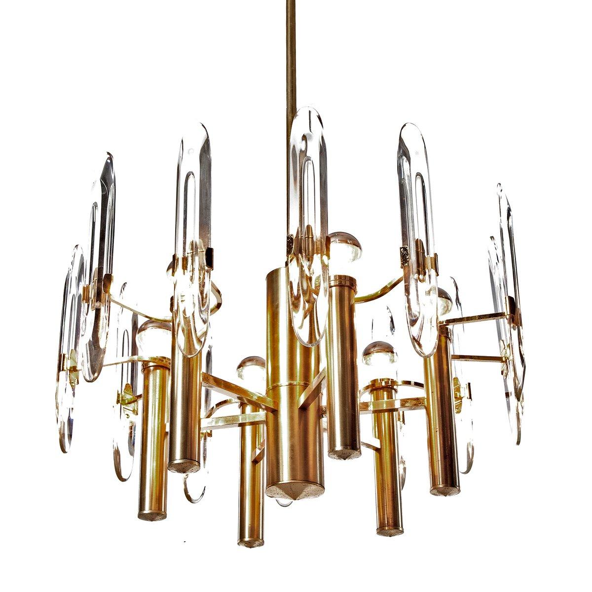 Vergoldeter Kronleuchter aus Messing & Kristallglas mit 6 Leuchten von...