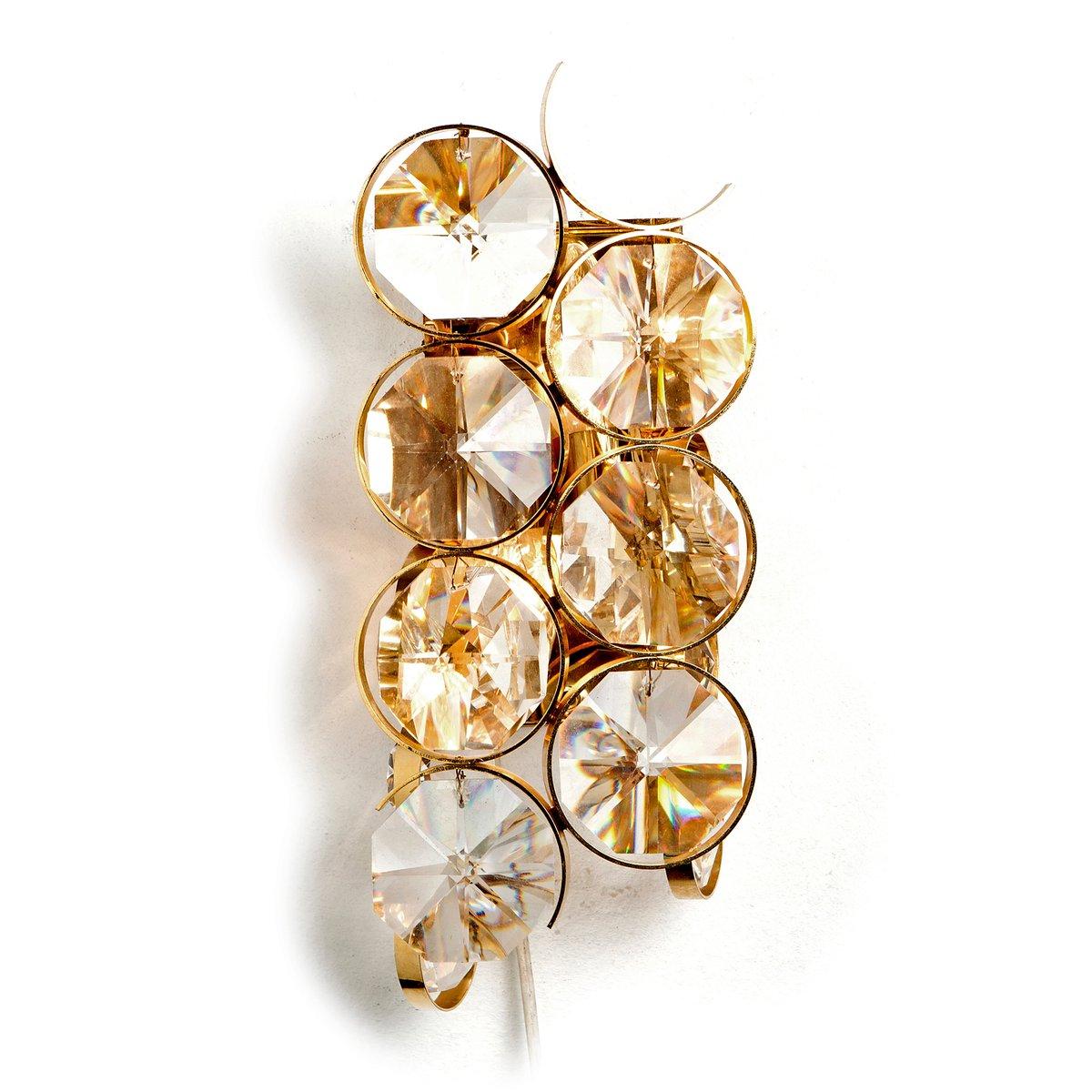 Wandlampe mit Zwei Leuchten aus Vergoldetem Messing und Rautenförmigen...