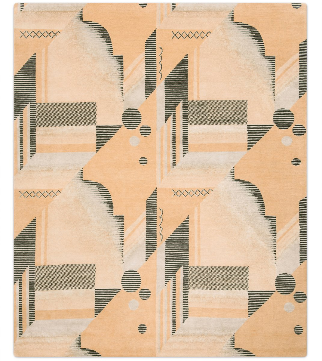Art Deco Rug in Melon from Knots Rugs for sale at Pamono