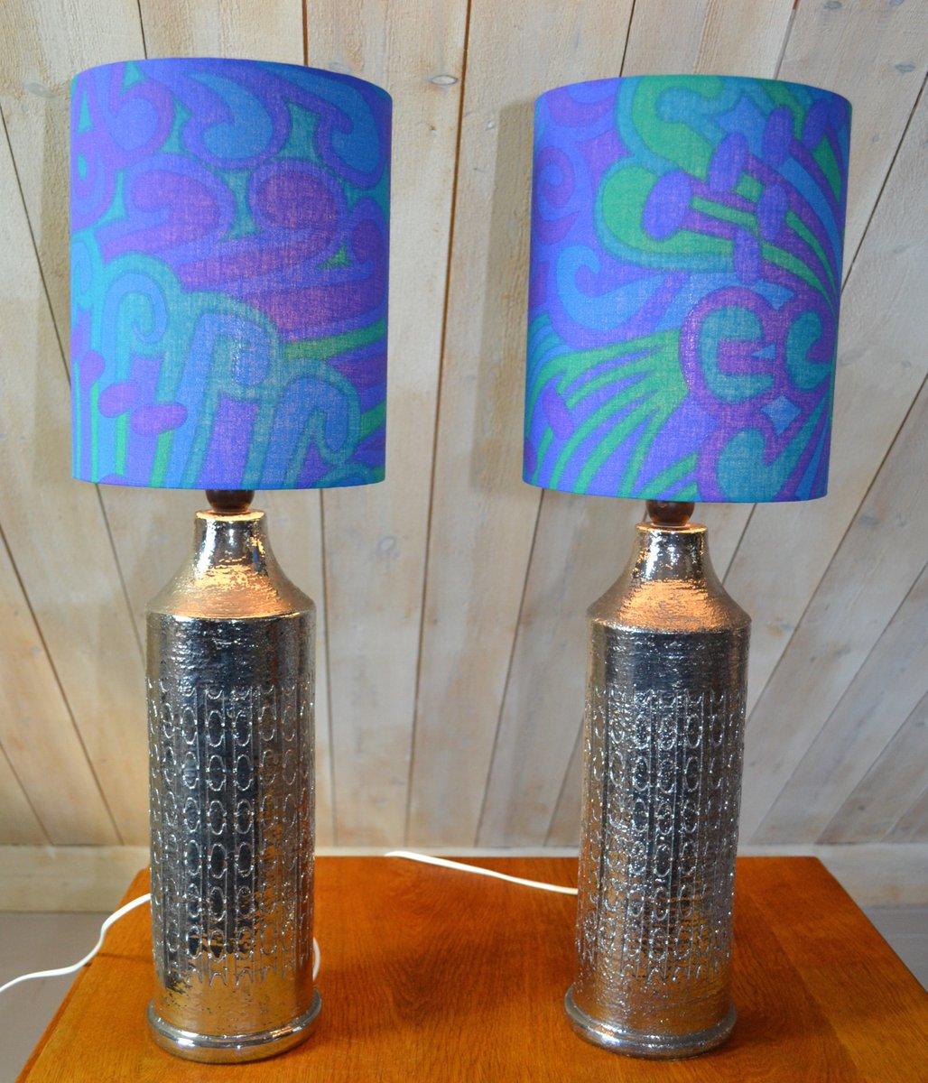 Verglaste Keramik Tischlampen von Bitossi für Bergbom, 2er Set